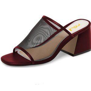 FSJ Mesh Open Toe Sandals Chunky Heels Mules Slide